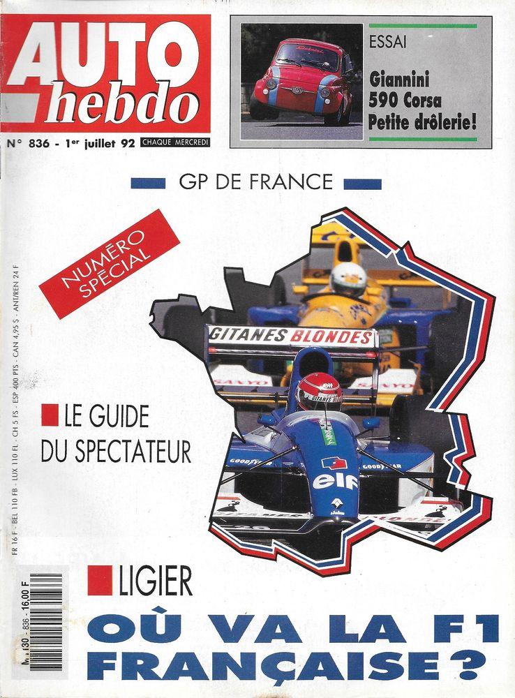 AUTO HEBDO n°836 de 1992 ALFA ROMEO 155 GTA GIANNINI 590 Livres et BD