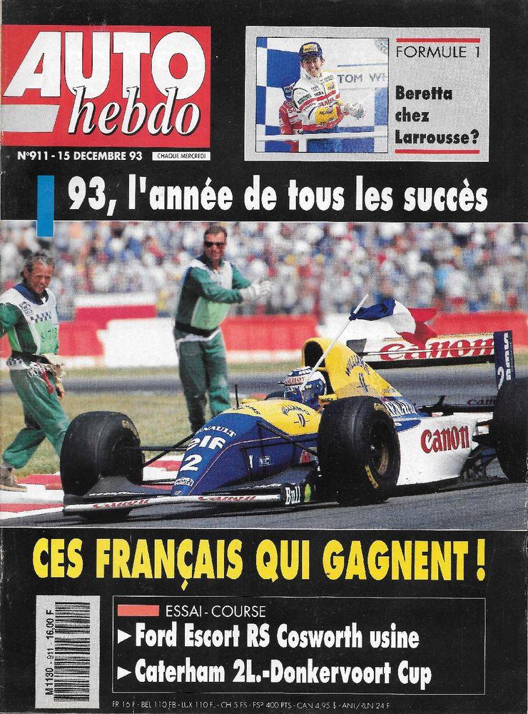 AUTO HEBDO n°911 de 1993  DONKERVOORT  CATERHAM 2 Castelnau-sur-Gupie (47)