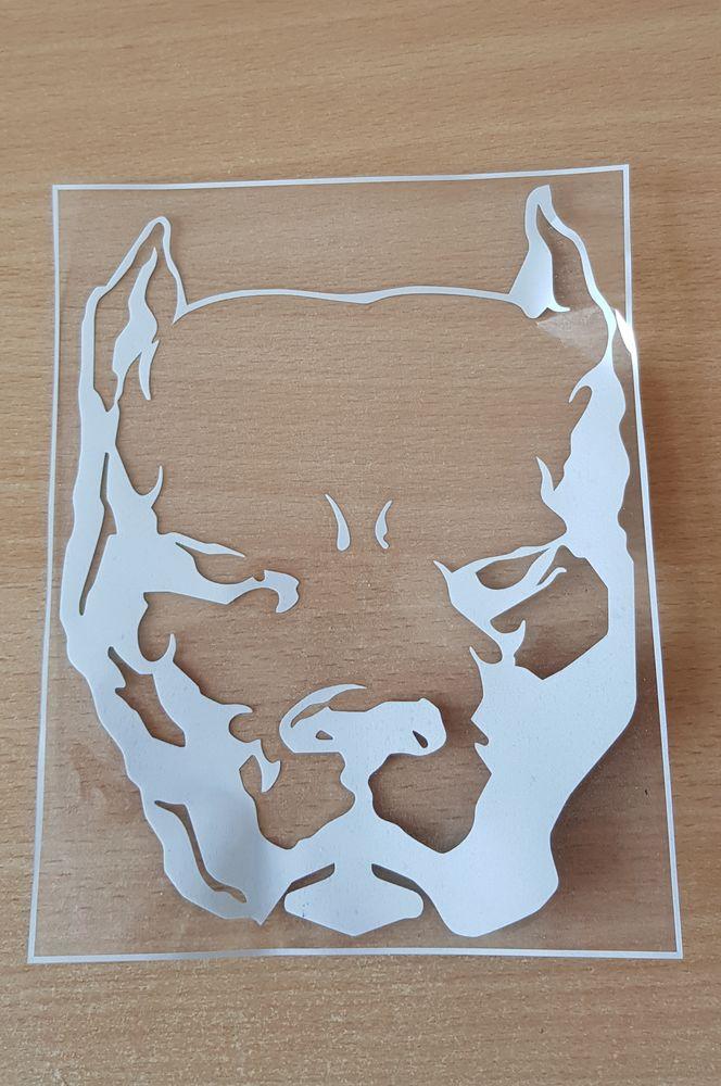 autocollant sticker  tête de pitbull  couleur blanc  19x14,5 5 Carnon Plage (34)