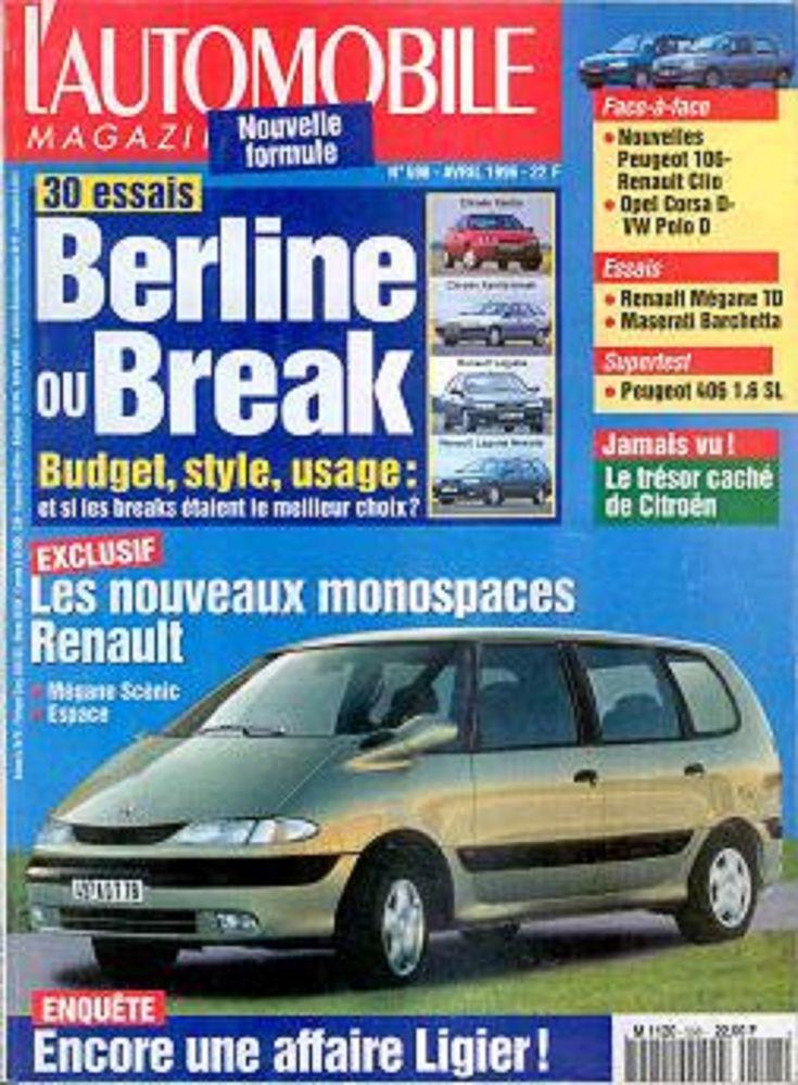 L'AUTOMOBILE Magazine n°598 1996  RENAULT Espace 2 Castelnau-sur-Gupie (47)