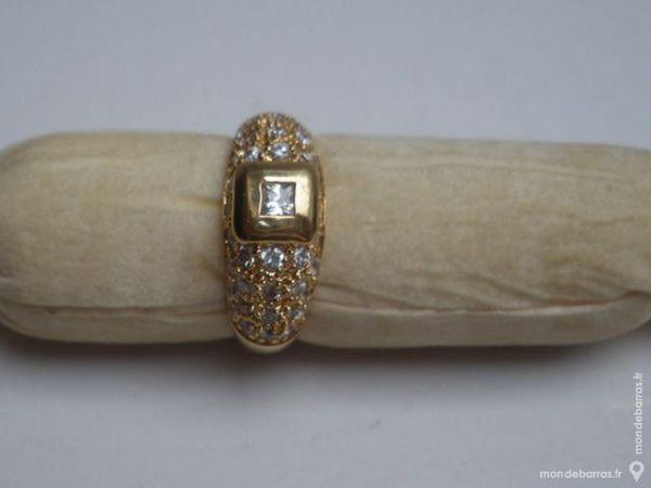 Bague anneaux plaqué or  taille 58 et zirconium 25 Montluçon (03)