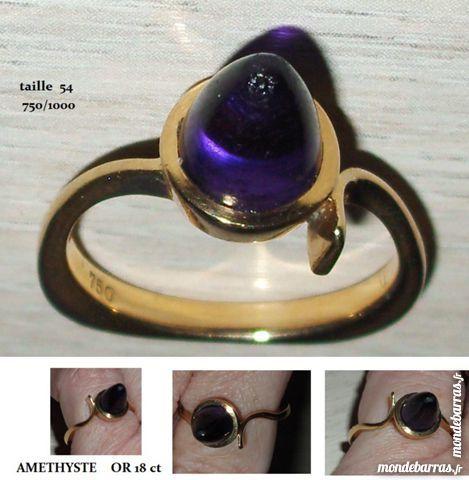 Bague or 18 carats, cône améthyste 350 Antibes (06)