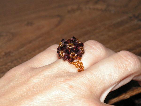 bague perles marron faite main 6 Auxonne (21)