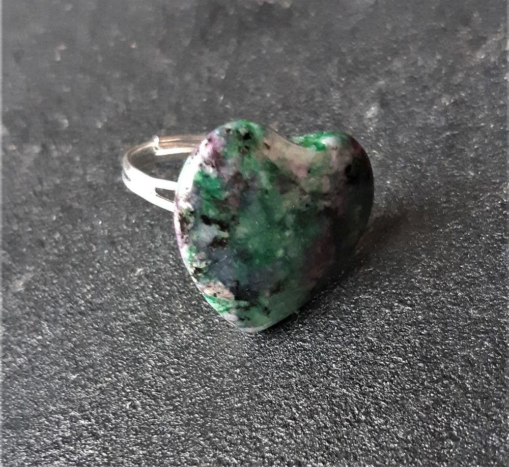 bague pierre rubis sur Zoïsite en forme de coeur 6 La Seyne-sur-Mer (83)
