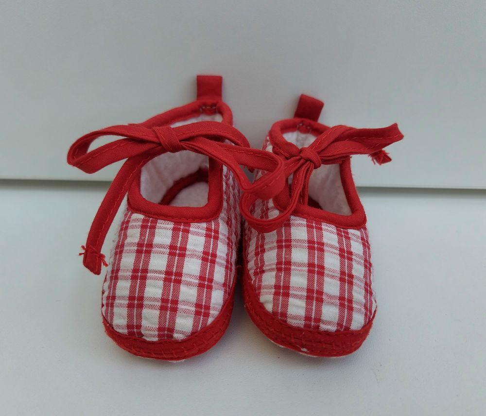 Ballerines en tissu rouge et blanc 3 Taverny (95)