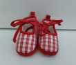 Ballerines en tissu rouge et blanc