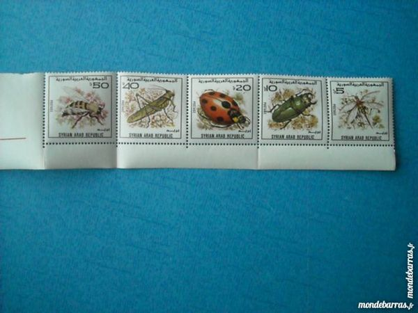 Bande timbres insectes Syrie