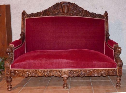 Banquette Canapé Salon ancienne style Louis XV 3 places 650 Vendôme (41)