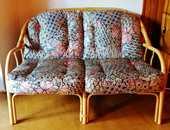 Banquette, fauteuils et table basse en rotin 100 Beauvais (60)