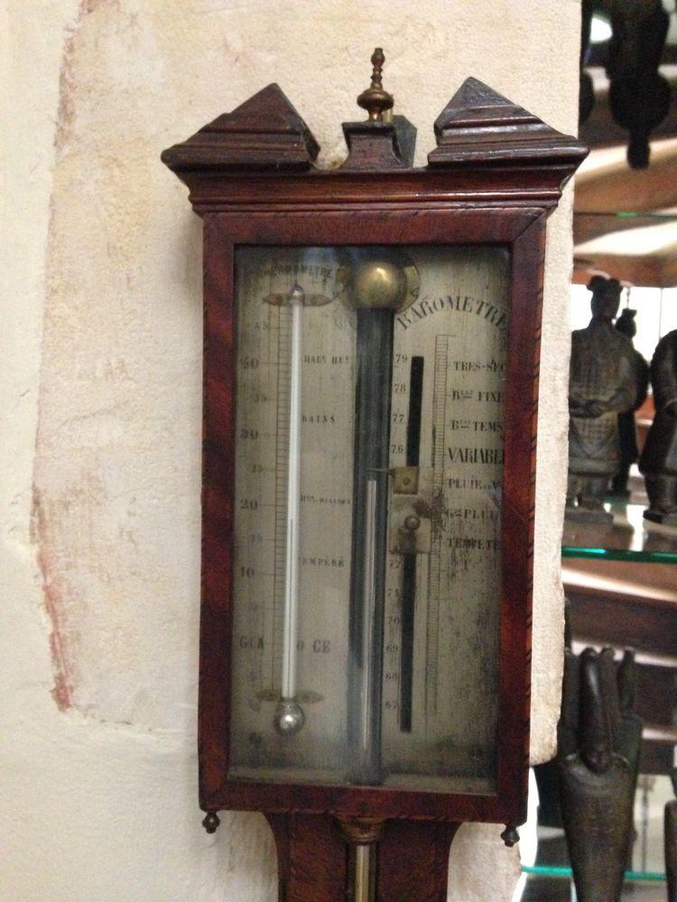 Barometre/thermometre à mercure en bois marqueté 0 Varzay (17)