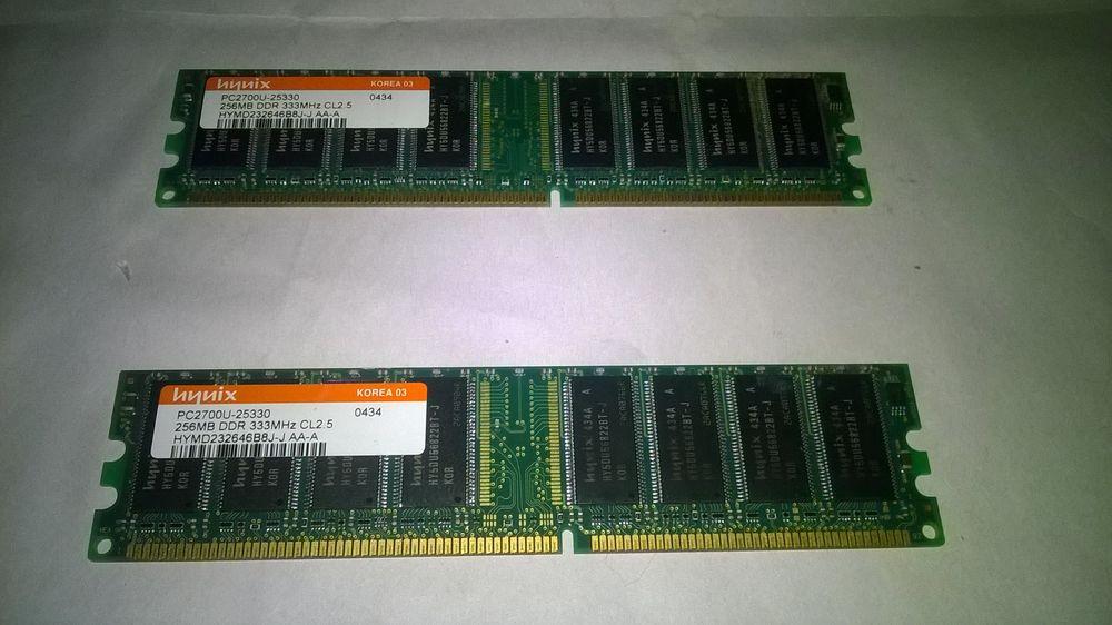 2 Barrettes de mémoire informatique Hynix 2x 256MB DDR 333M 10 Talange (57)
