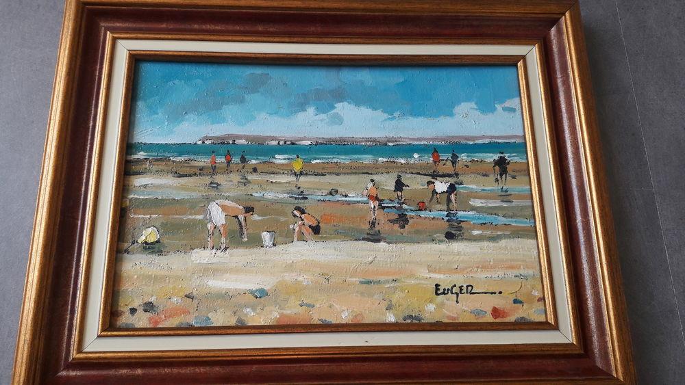 beau tableau peinture huile plage de Trouville 120 Rouen (76)