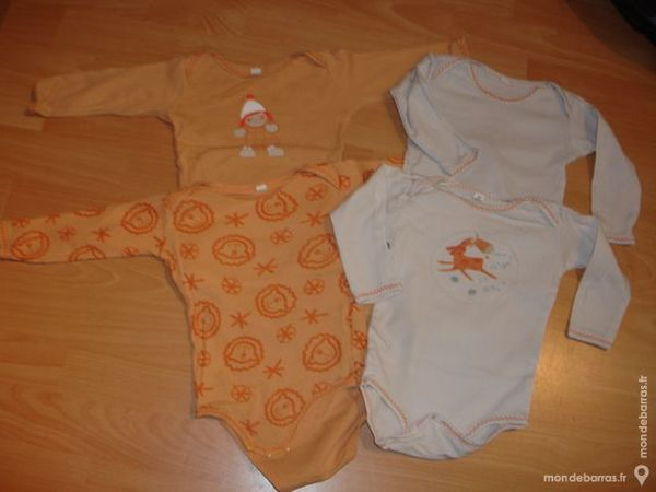 vet bébé lot 4 body manche longue 9M blanc orange 4 Poissy (78)