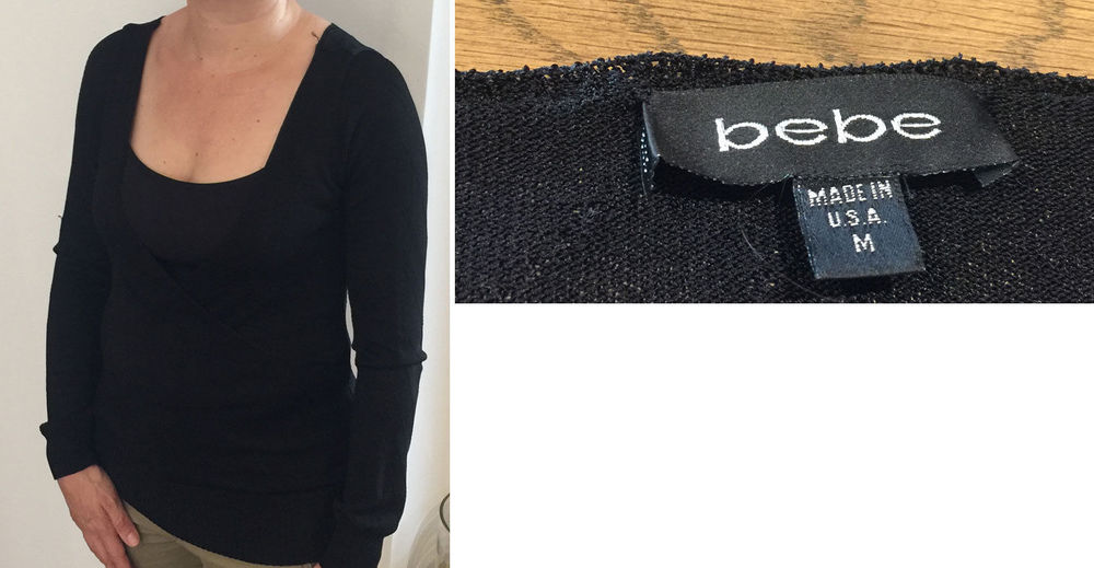 BEBE cache coeur pull croisé noir Taille M femme 10 Paris 20 (75)