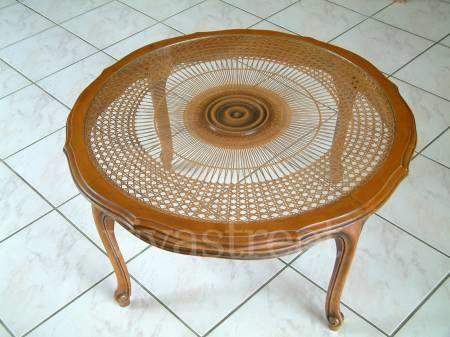 Belle table basse merisier, tresse et vitrage diametre 85 219 Rambouillet (78)