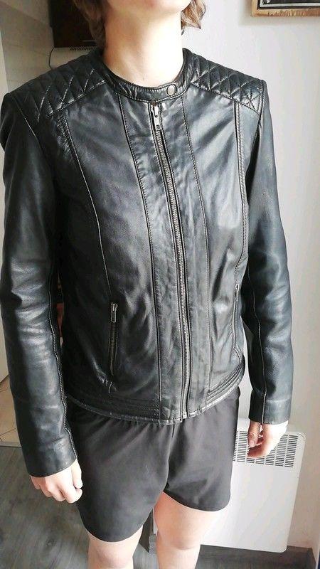 Belle veste en cuir d' agneau noir pour femme 70 Paris 1 (75)