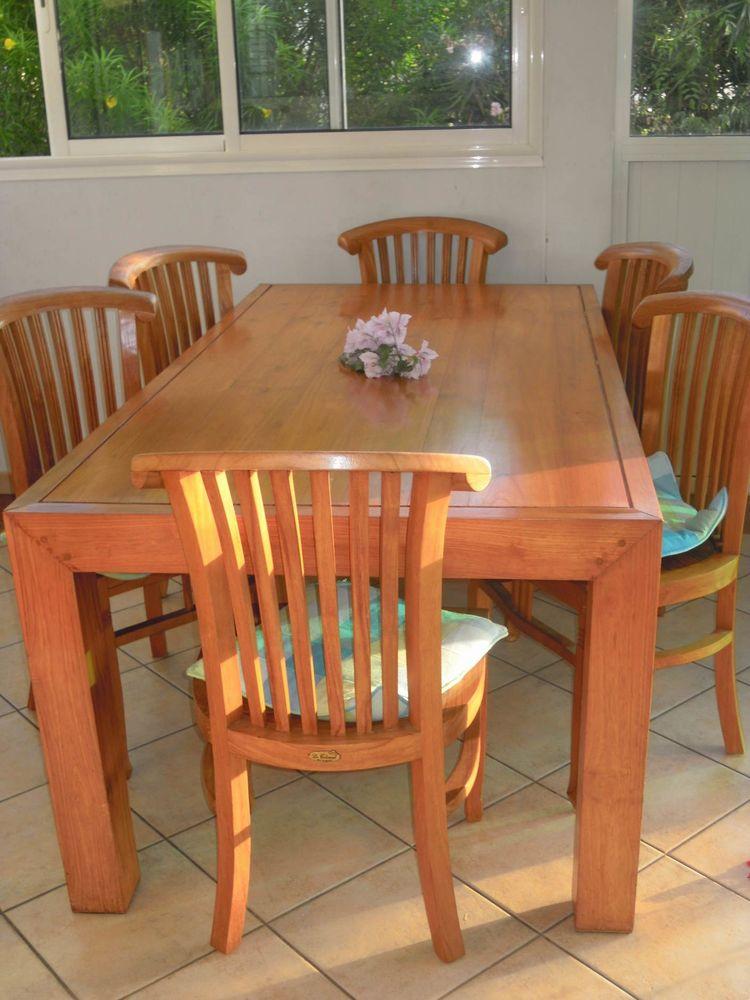 Benne table en tek et meuble vaisselle 1300 La Réunion (97)