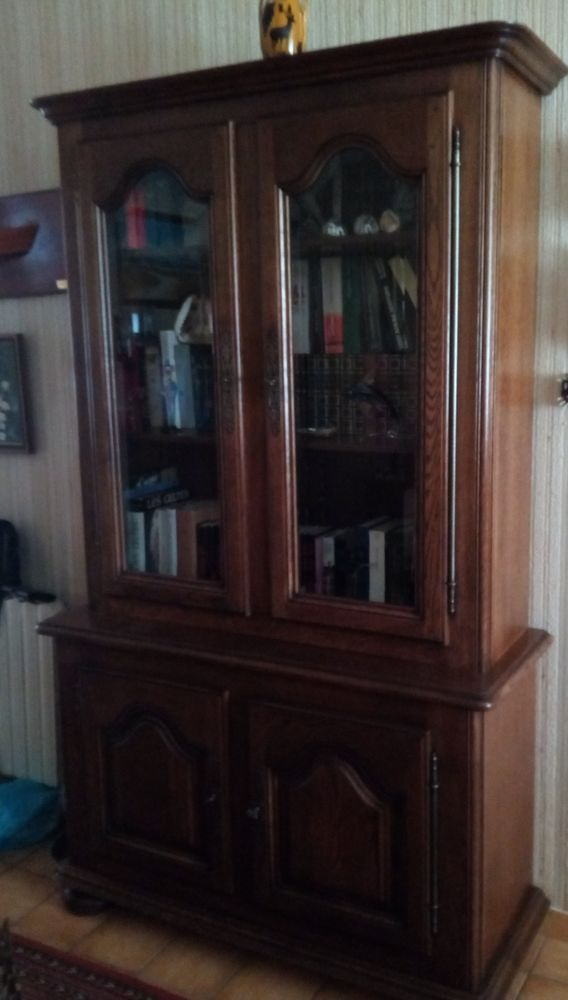 bibliothèque avec vitrine en chêne, possible en 2 partie 120 Rezé (44)