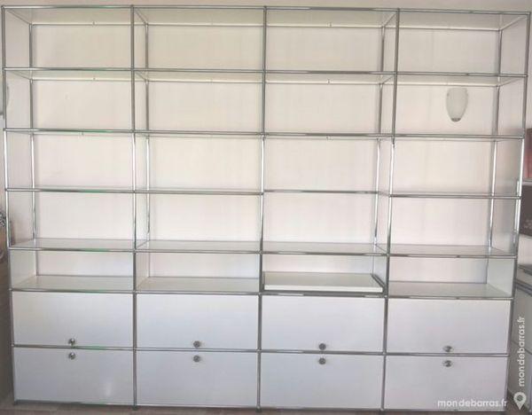 Bibliothèque blanche usm haller 28 cases 4 tiroirs Meubles