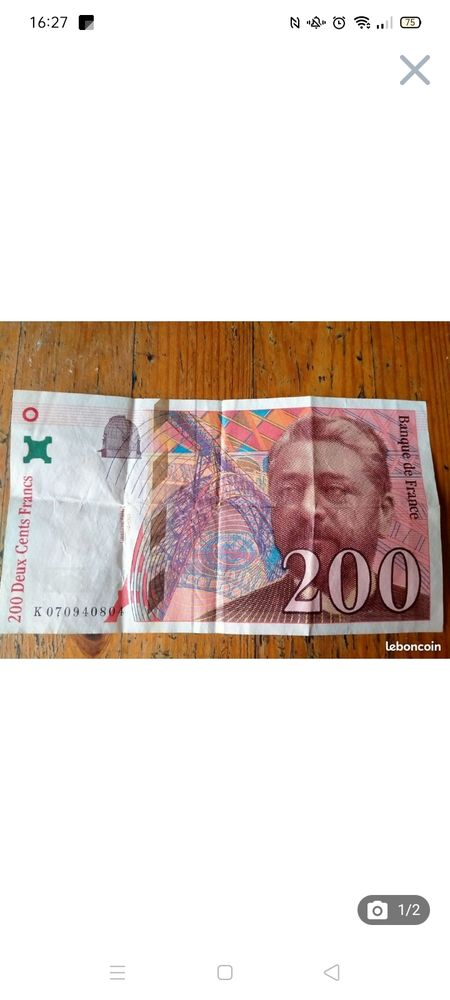 Billet 200 euros eiffel 1997 45 Robion (84)