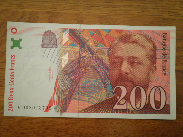 Billet de 200 francs Gustave Eiffel  1996 série H008013705 5 Nanteuil-le-Haudouin (60)