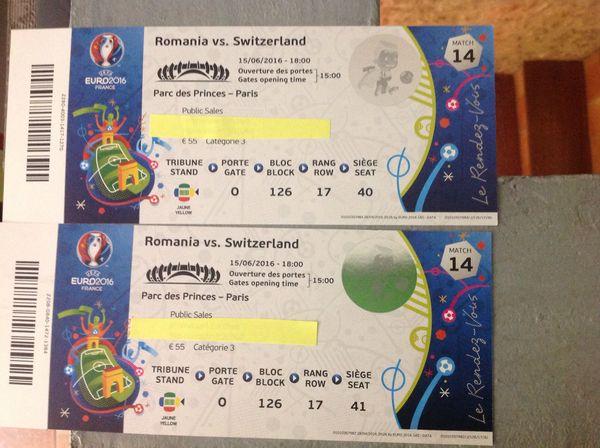 BIllet match Roumanie Suisse  Cat 3 le 15/6 à Paris 18h 0 La Crèche (79)
