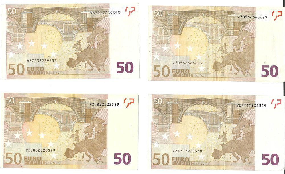lot de 4 billets de 50 € 2002 en tb état 300 Fayet (02)
