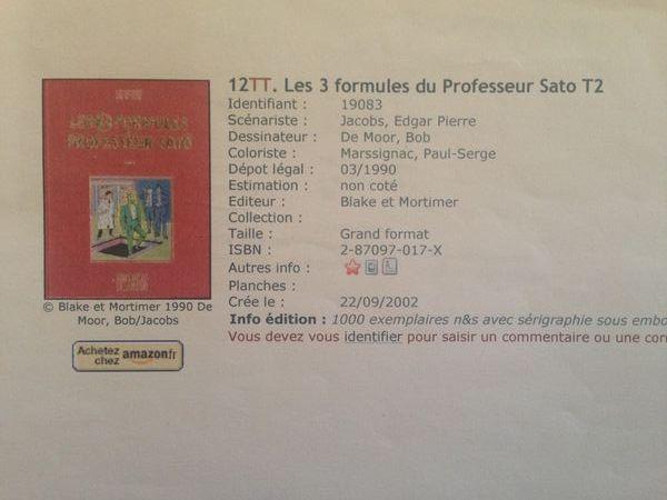 blake et mortimer les trois formules du professeur Sato  200 Mouans-Sartoux (06)