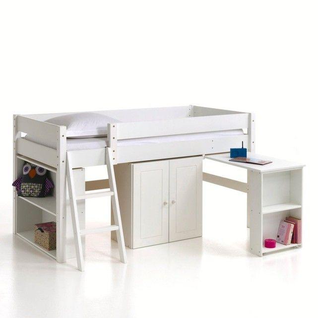 Lit blanc combiné 90 x 190 avec bureau escamotable 150 Égly (91)