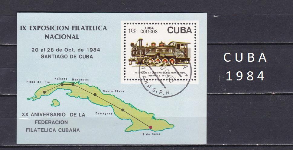 Bloc de CUBA de 1984 avec des TRAINS 1 Les Églisottes-et-Chalaures (33)