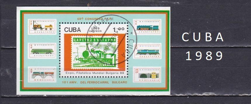 Bloc de CUBA de 1989 sur les TRAINS 1 Les Églisottes-et-Chalaures (33)