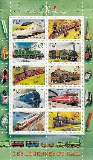 Bloc timbres France YB38, 2001, légendes du rail 3 Lens (62)