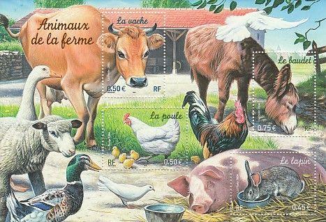 Bloc timbres France YB69, 2004, animaux de la ferme 3 Lens (62)