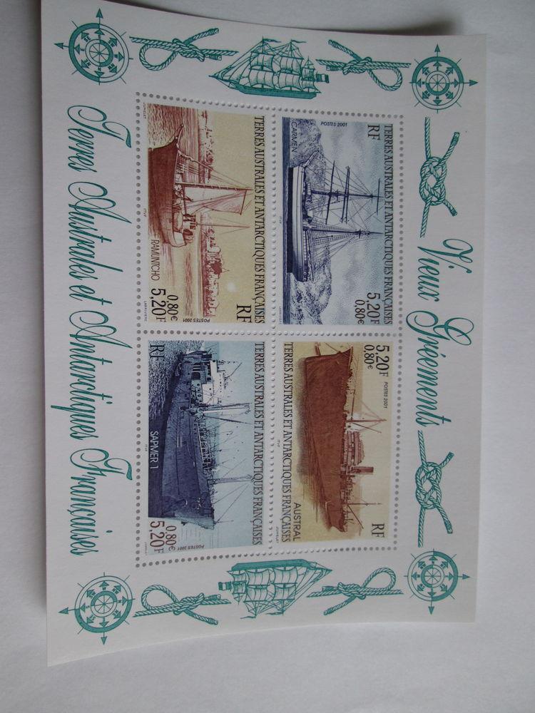 Bloc de 4 timbres  Terres Australes Vieux Gréements 10 Goussainville (95)