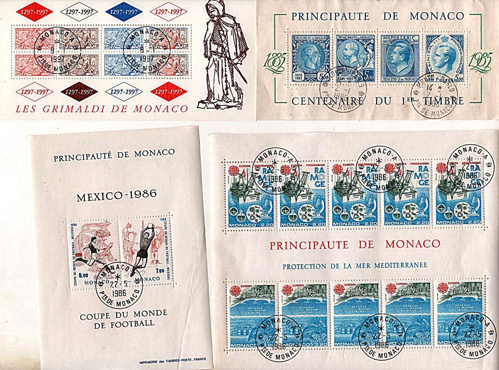 4 blocs timbres de Monaco (ports compris) 15 Le Temple-sur-Lot (47)