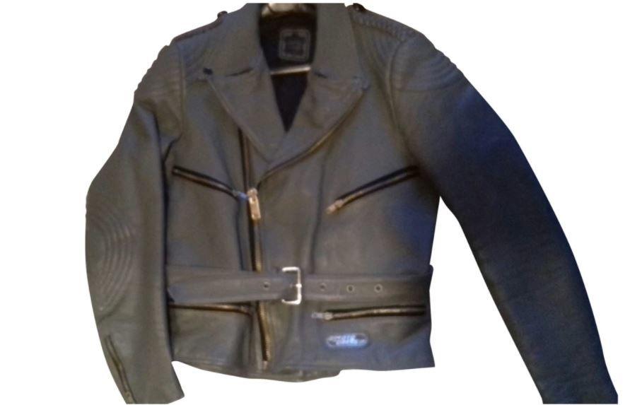 Blouson cuir moto motard gris Echtes Leder 69 Franconville (95)