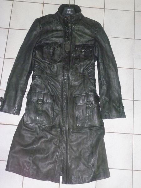 Blouson en cuir noir redskins long pour femme T M 100 Sens (89)