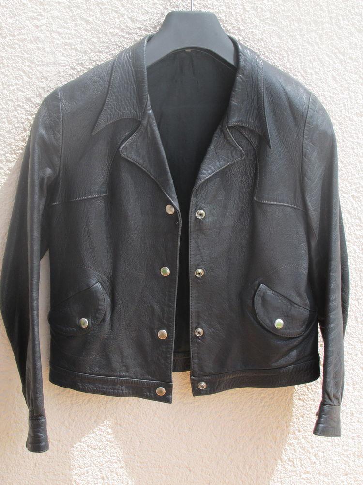 Blouson cuir noir Vintage 70 Rezé (44)