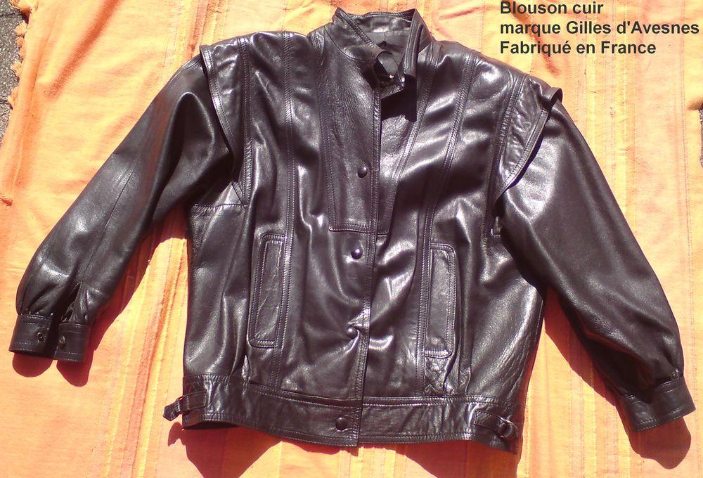 Blouson cuir noir Vêtements