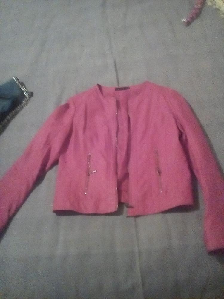 Blouson imitation cuir rouge Vêtements