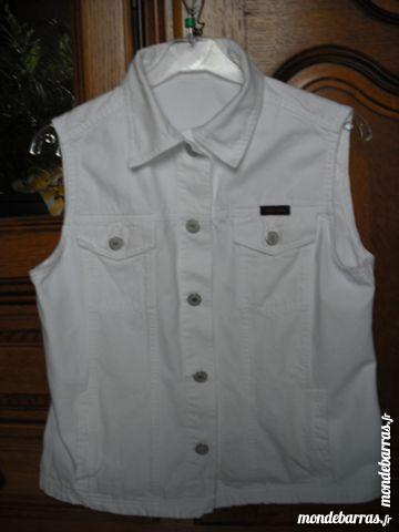 blouson jean blanc sans manches 4 Cramont (80)