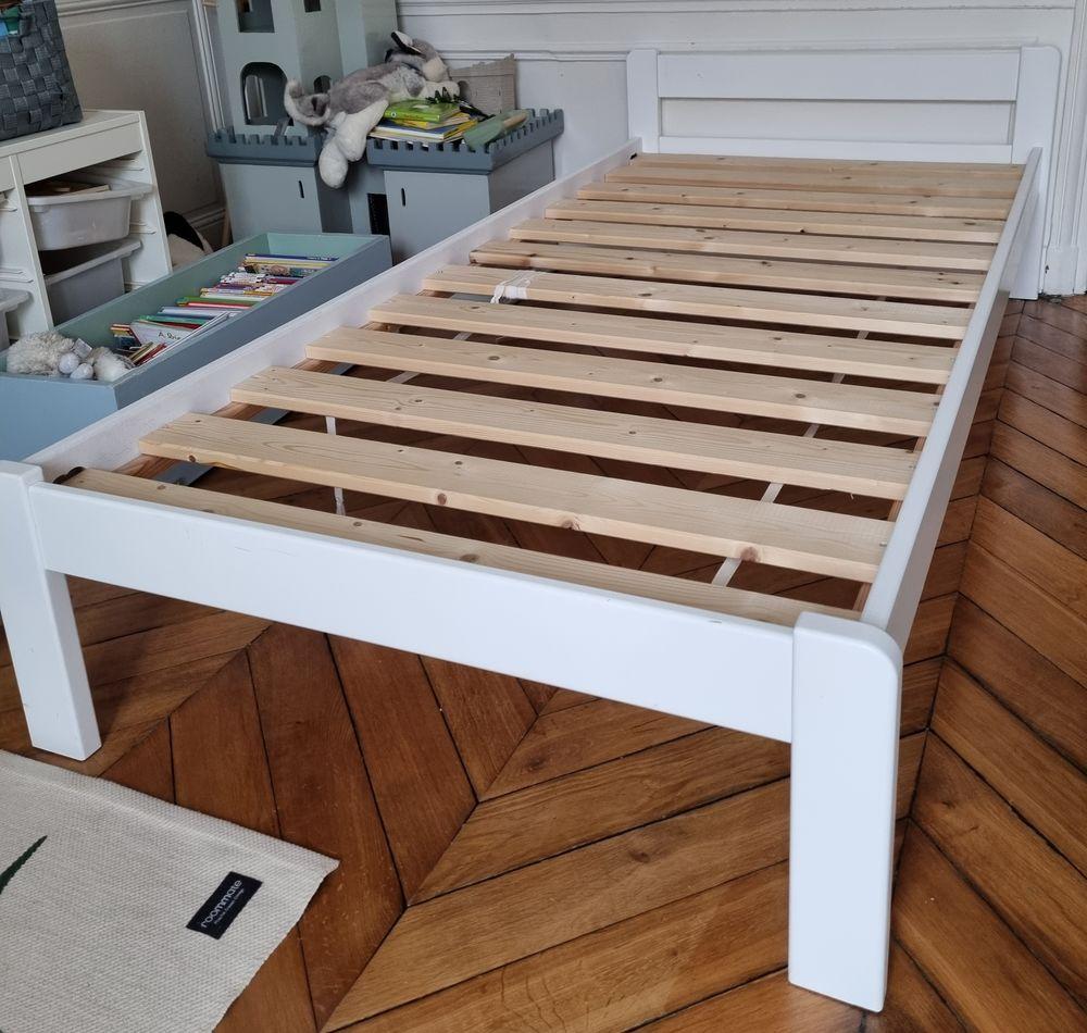Lit bois blanc, 190x90cm et sommier  80 Paris 9 (75)