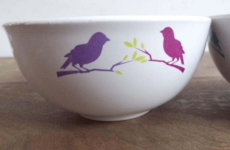 2 bols thème oiseaux sur leur branche signés Atmosphère 2 Laval (53)