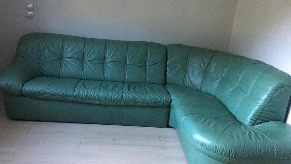 Bonne affaire - Grand canapé d'angle en cuir convertible 290 Modane (73)