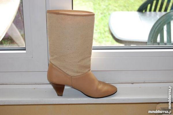 boots beige en cuir et toile 15 Mouvaux (59)
