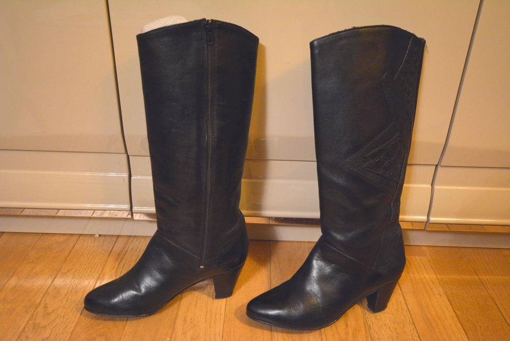 Bottes noires cuir femme 38 18 Boulogne-Billancourt (92)