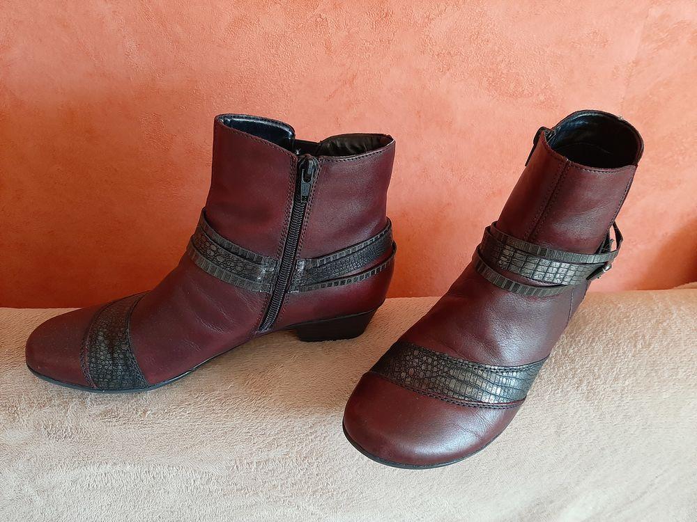 Bottines femme marque Remonte en cuir bordeau noir 35 Aix-en-Provence (13)