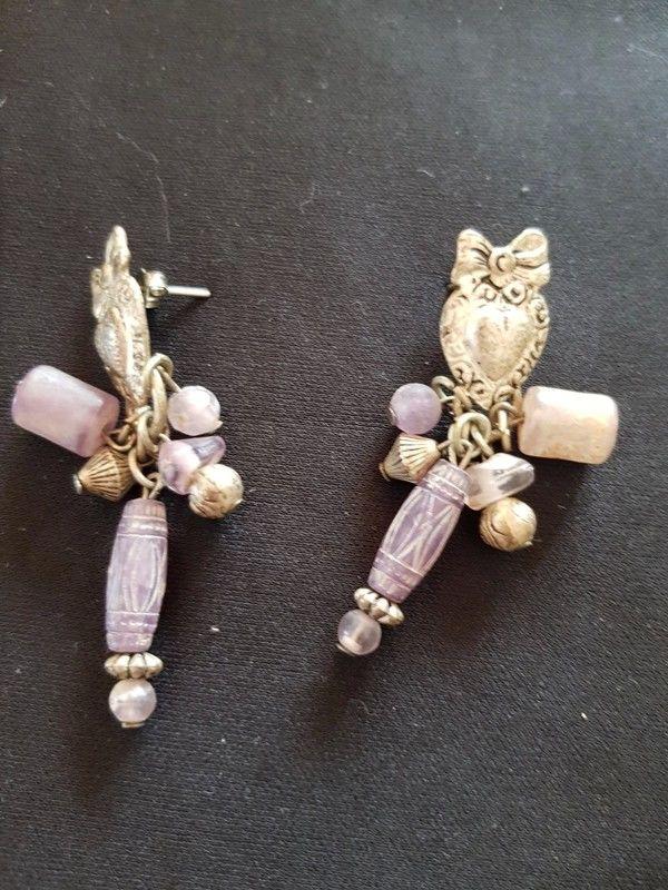 Boucle d oreille violette et argentée neuve 5 cm 2 e 2 Viriat (01)