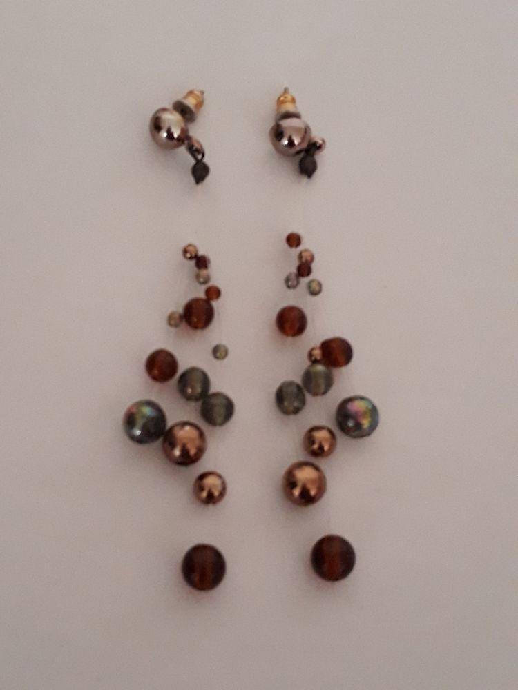 Boucles d'oreille pendantes bleues or et marrons 1 Noyers (89)