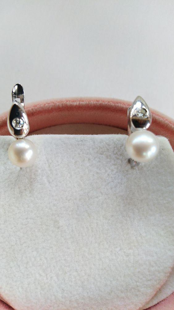 Boucles d'oreilles or blanc 18 Carats et Brillants Perles 138 Ghyvelde (59)